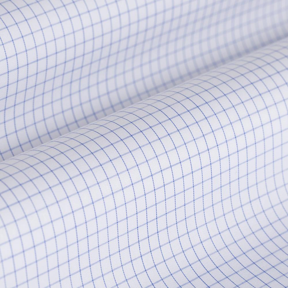Germirli Non Iron Navy Blue Plaid Semi Spread Tailor Fit Shirt