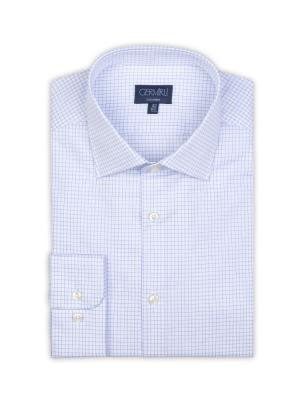 Germirli - Germirli Non Iron Navy Blue Plaid Semi Spread Tailor Fit Shirt (1)