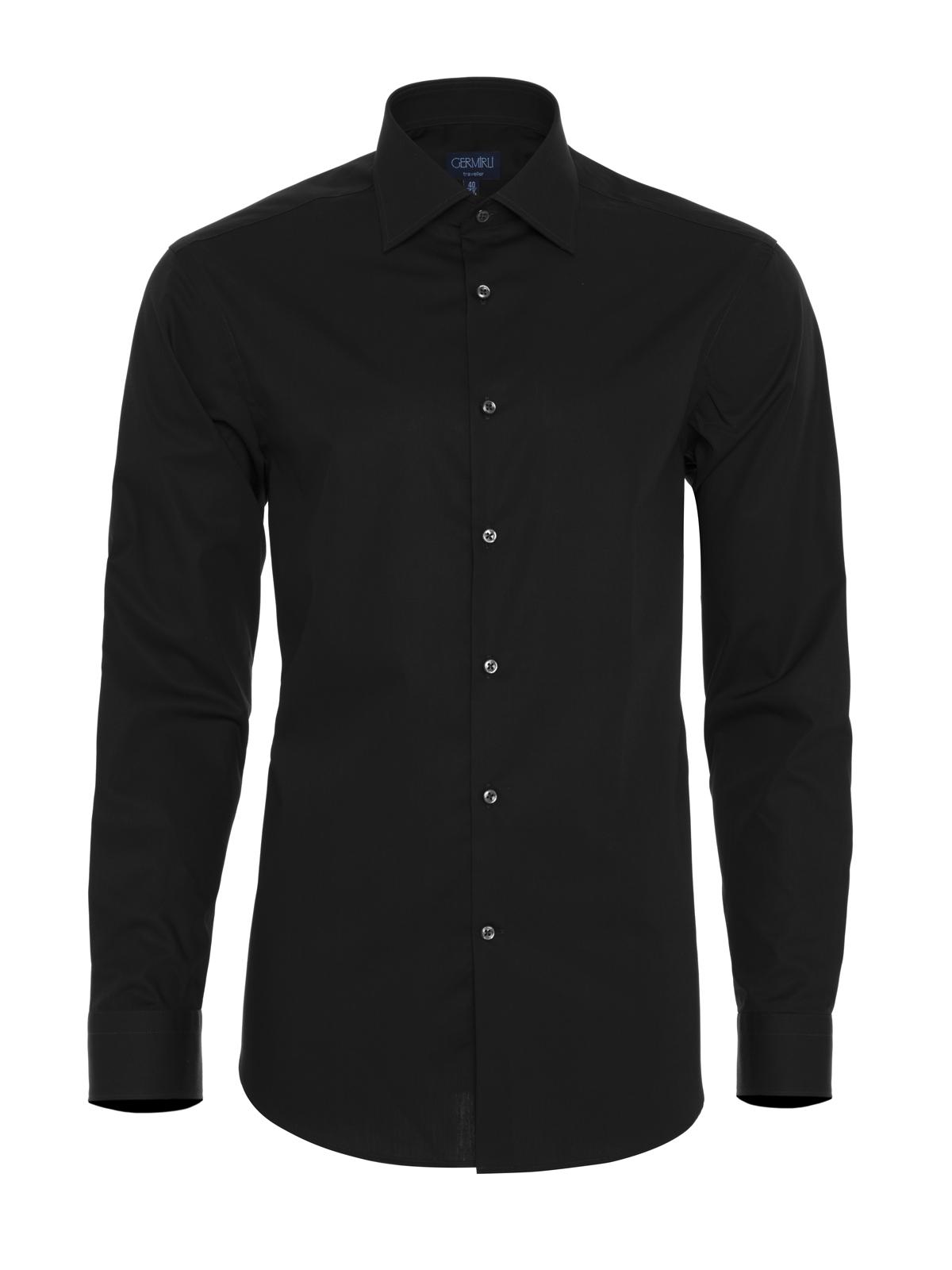 Germirli Non Iron Navy Blue Poplin Semi Spread Tailor Fit Shirt