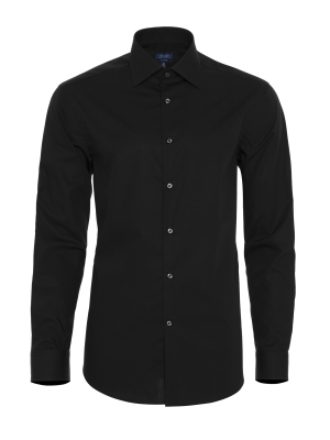 Germirli - Germirli Non Iron Navy Blue Poplin Semi Spread Tailor Fit Shirt