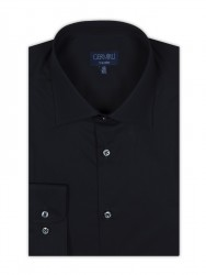 Germirli - Germirli Non Iron Navy Blue Poplin Semi Spread Tailor Fit Shirt (1)
