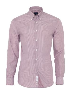 Germirli - Germirli Non Iron Pembe Beyaz Çizgili Düğmeli Yaka Tailor Fit Swiss Cotton Gömlek