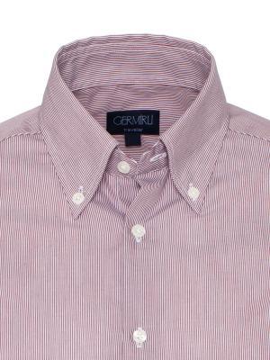 Germirli - Germirli Non Iron Pembe Beyaz Çizgili Düğmeli Yaka Tailor Fit Swiss Cotton Gömlek (1)