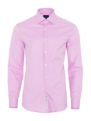 Germirli - Germirli Non Iron Pembe Twill Klasik Yaka Tailor Fit Journey Gömlek