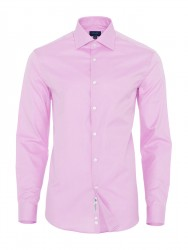 Germirli - Germirli Non Iron Pink Twill Semi Spread Tailor Fit Journey Shirt