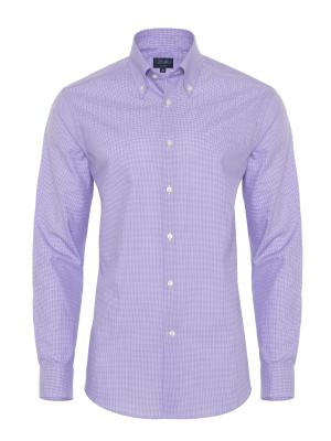 Germirli - Germirli Non Iron Purple Plaid Button Down Collar Tailor Fit Shirt