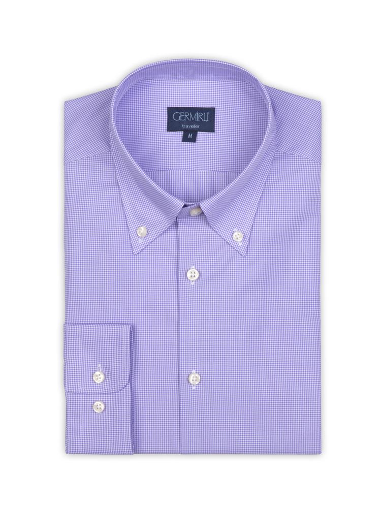 Germirli Non Iron Purple Plaid Button Down Collar Tailor Fit Shirt