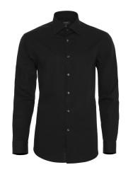 Germirli - Germirli Non Iron Siyah Poplin Klasik Yaka Tailor Fit Gömlek