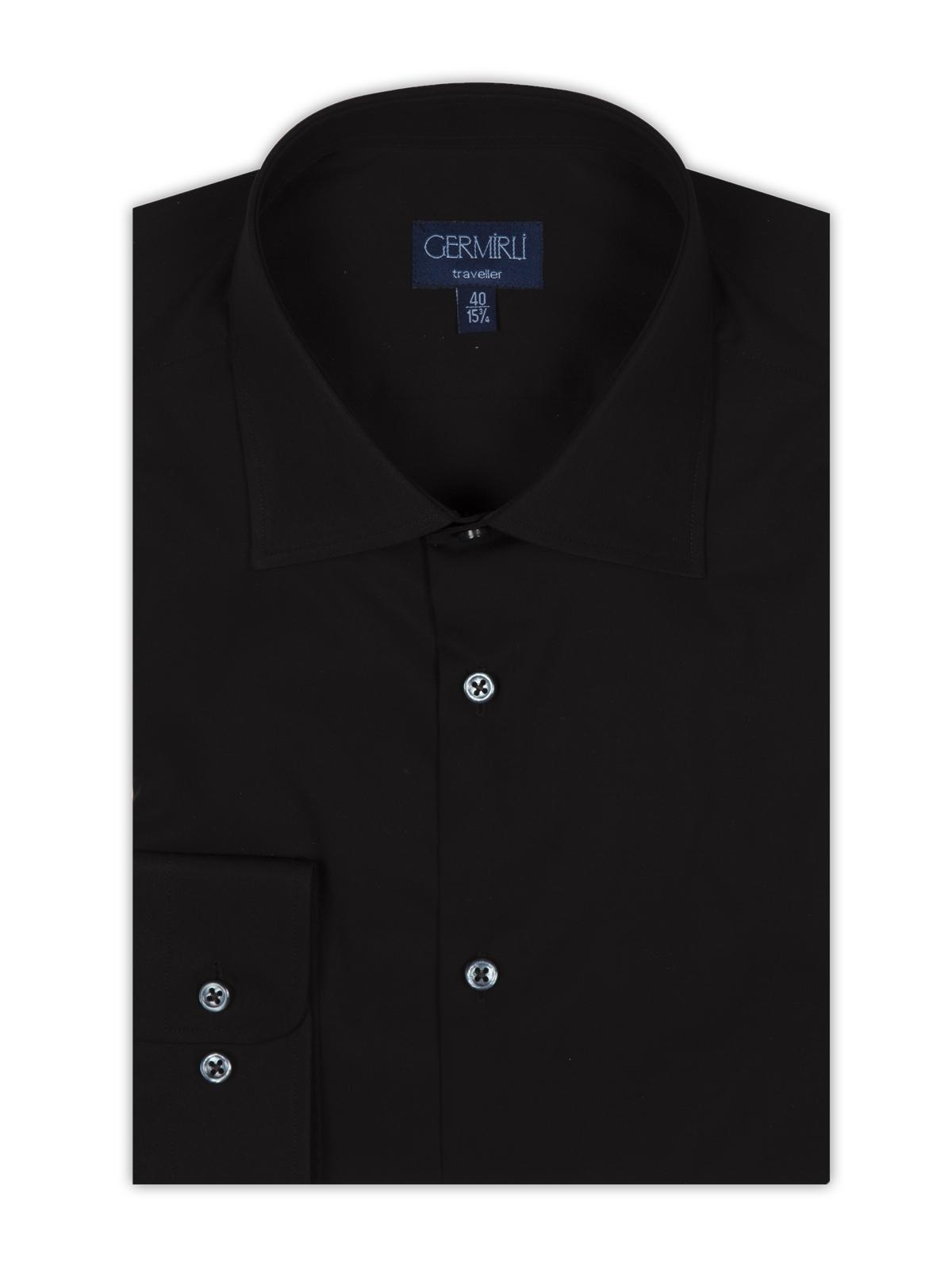 Germirli Non Iron Siyah Poplin Klasik Yaka Tailor Fit Gömlek