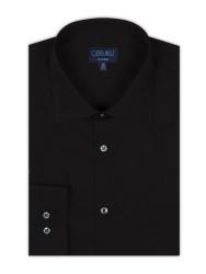 Germirli Non Iron Siyah Poplin Klasik Yaka Tailor Fit Gömlek - Thumbnail