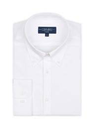 Germirli Non Iron White Button Down Collar Tailor Fit Zero 24 Shirt - Thumbnail