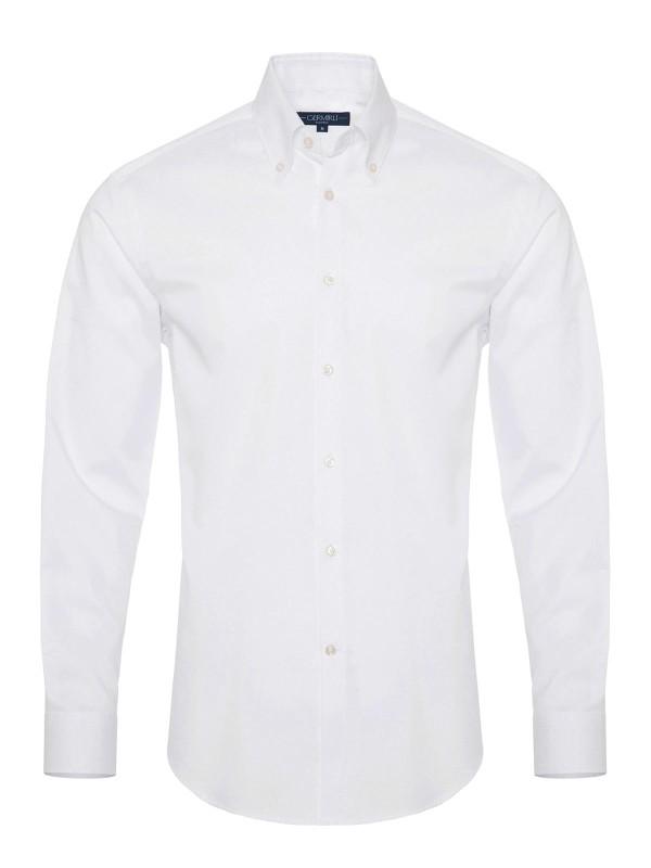Germirli Non Iron White Button Down Collar Tailor Fit Zero 24 Shirt