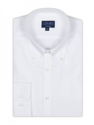 Germirli - Germirli Non Iron White Oxford Button Down Collar Tailor Fit Shirt (1)