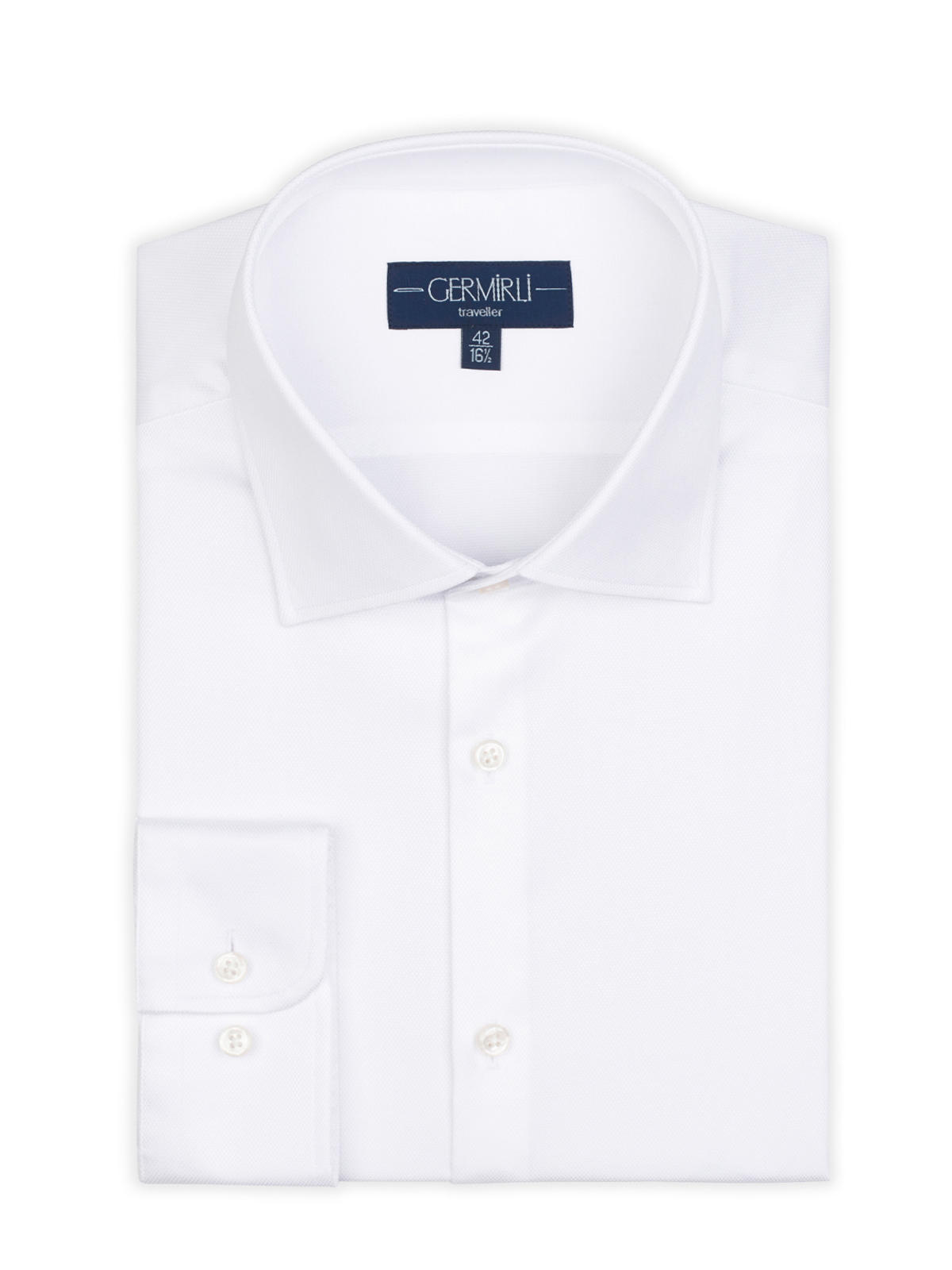 Germirli Non Iron White Oxford Semi Spread Tailor Fit Jouney Shirt