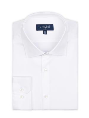 Germirli - Germirli Non Iron White Oxford Semi Spread Tailor Fit Jouney Shirt (1)