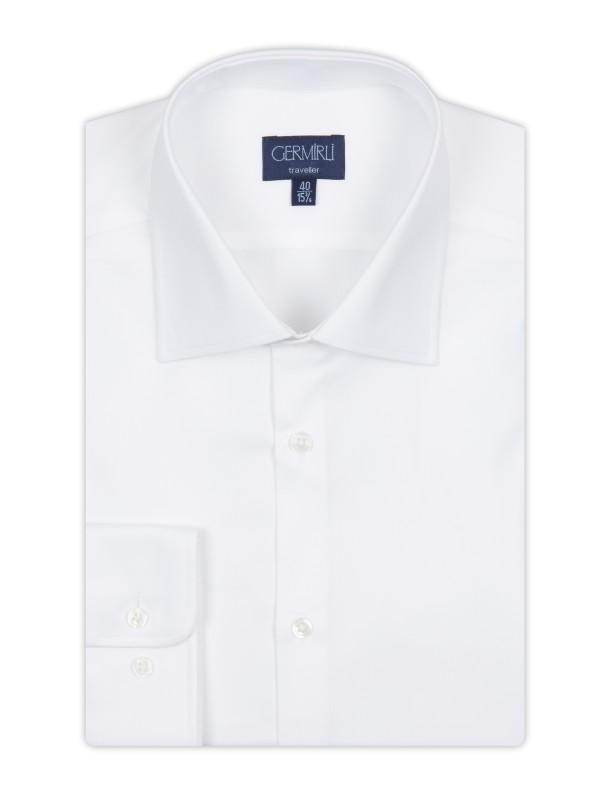 Germirli - Germirli Non Iron White Semi Spread Tailor Fit Journey Shirt (1)