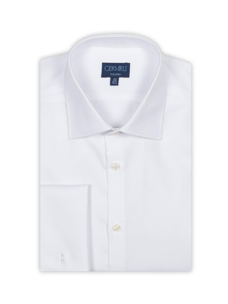 Germirli Non Iron White Twill Semi Spread Tailor Fit Journey Shirt