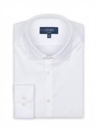 Germirli - Germirli Non Iron White Twill Semi Spread Tailor Fit Shirt (1)