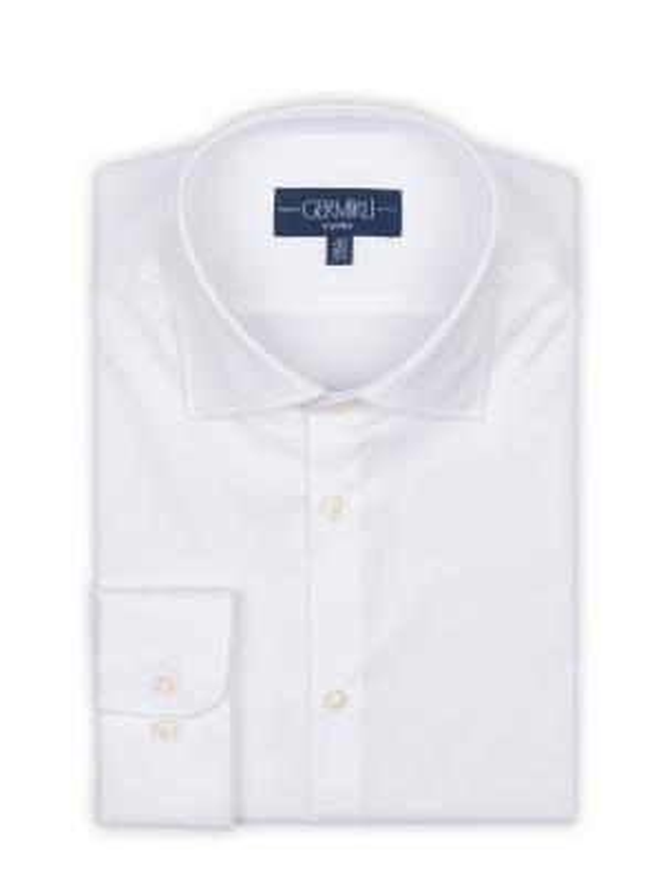 Germirli - Germirli Non Iron White Twill Semi Spread Tailor Fit Shirt (1)
