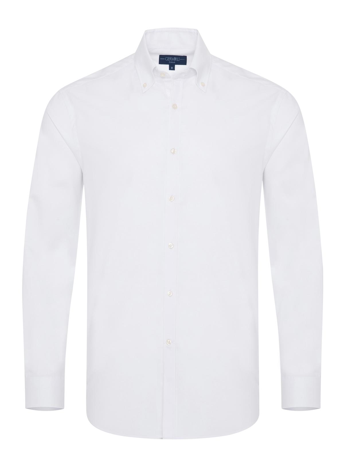 Germirli - Germirli Organik Beyaz Poplin Düğmeli Yaka Tailor Fit Eco Logic Gömlek