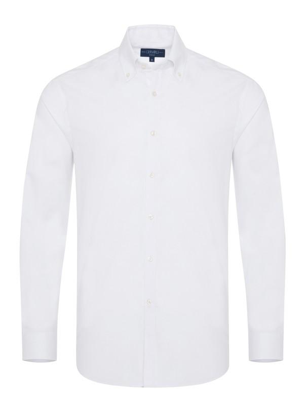 Germirli Organik Beyaz Poplin Düğmeli Yaka Tailor Fit Eco Logic Gömlek
