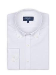 Germirli - Germirli Organik Beyaz Poplin Düğmeli Yaka Tailor Fit Eco Logic Gömlek (1)