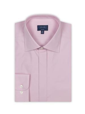 Germirli - Germirli Pembe Gizli Pat Klasik Yaka Tailor Fit Gömlek (1)