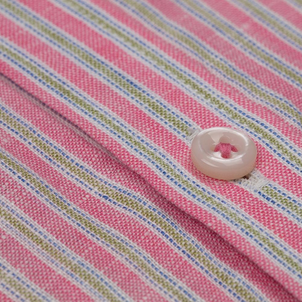 Germirli Pembe Bej Çizgili Keten Kısa Kollu Tailor Fit Gömlek