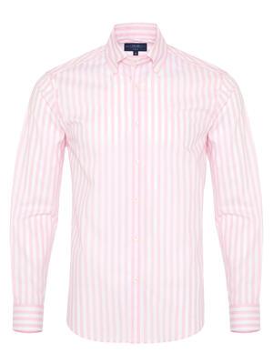 Germirli - Germirli Pink White Stripe Button Down Collar Tailor Fit Shirt