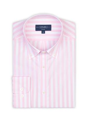 Germirli - Germirli Pembe Beyaz Çizgili Düğmeli Yaka Tailor Fit Gömlek (1)