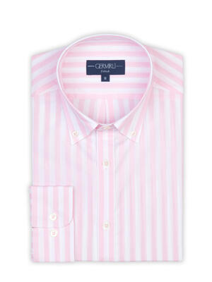 Germirli - Germirli Pink White Stripe Button Down Collar Tailor Fit Shirt (1)
