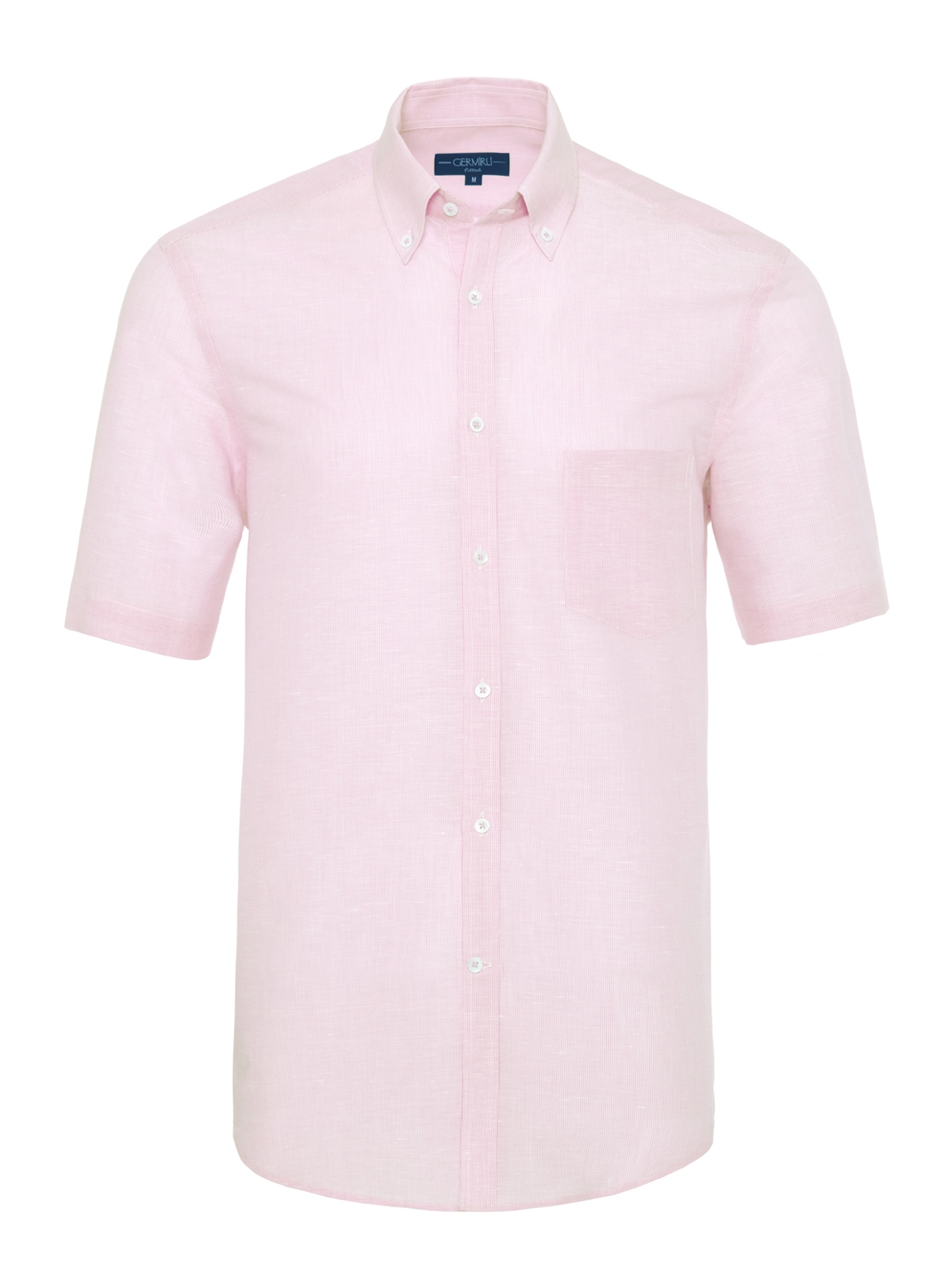 Germirli - Germirli Pembe Beyaz Çizgili Keten Pamuk Kısa Kollu Düğmeli Yaka Cepli Tailor Fit Gömlek