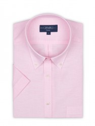 Germirli - Germirli Pembe Beyaz Çizgili Keten Pamuk Kısa Kollu Düğmeli Yaka Cepli Tailor Fit Gömlek (1)