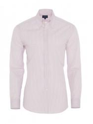 Germirli - Germirli Pembe Beyaz Mavi Çizgili Düğmeli Yaka Tailor Fit Gömlek