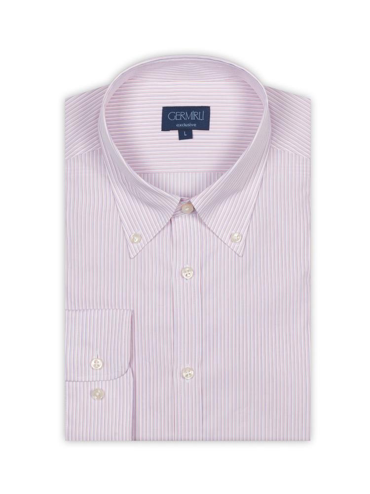 Germirli Pembe Beyaz Mavi Çizgili Düğmeli Yaka Tailor Fit Gömlek