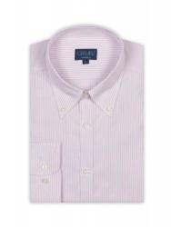 Germirli - Germirli Pembe Beyaz Mavi Çizgili Düğmeli Yaka Tailor Fit Gömlek (1)