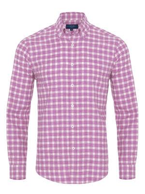 Germirli - Germirli Pembe Kareli Düğmeli Yaka Flanel Tailor Fit Gömlek