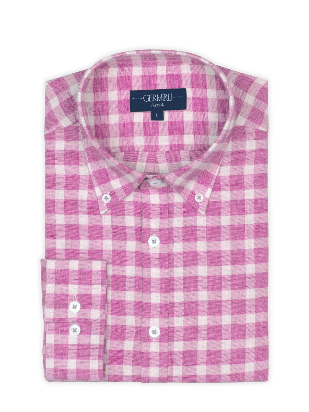 Germirli Pembe Kareli Düğmeli Yaka Flanel Tailor Fit Gömlek