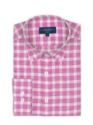 Germirli - Germirli Pembe Kareli Düğmeli Yaka Flanel Tailor Fit Gömlek (1)