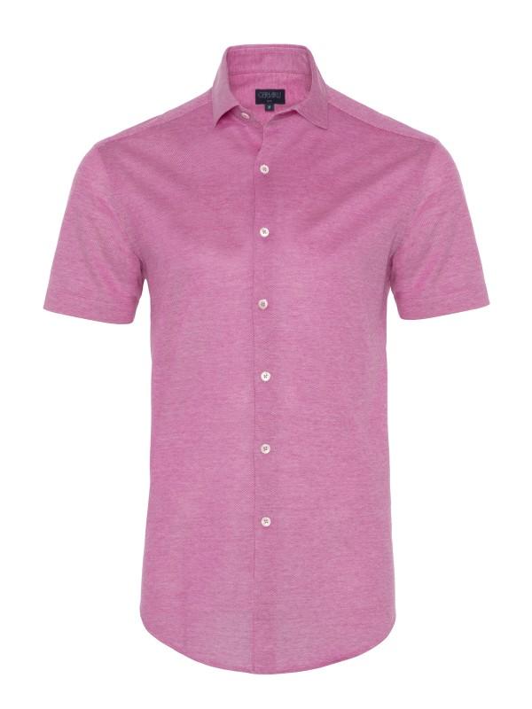 Germirli - Germirli Koyu Pembe Klasik Yaka Örme Kısa Kollu Slim Fit Gömlek