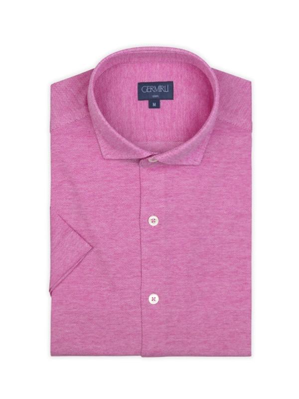 Germirli - Germirli Koyu Pembe Klasik Yaka Örme Kısa Kollu Slim Fit Gömlek (1)