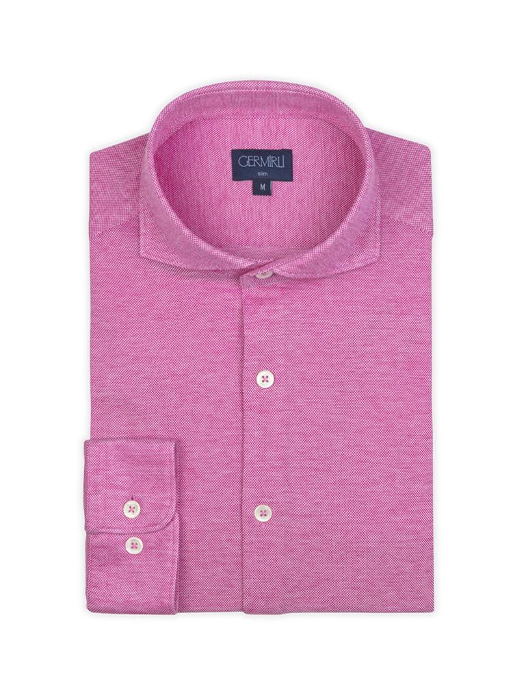 Germirli Koyu Pembe Klasik Yaka Piquet Örme Slim Fit Gömlek