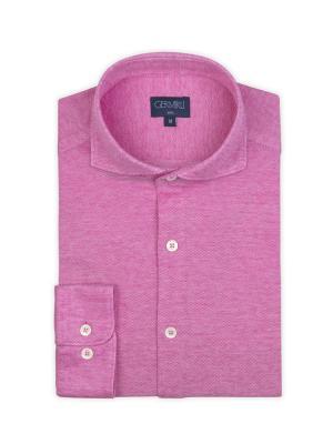 Germirli - Germirli Koyu Pembe Klasik Yaka Örme Slim Fit Gömlek (1)