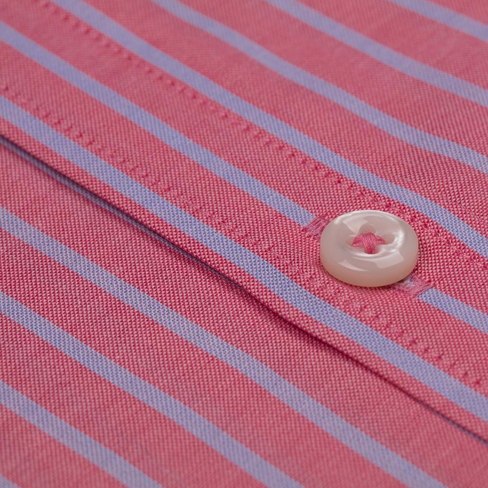 Germirli Pembe Mavi Çizgili Düğmeli Yaka Tailor Fit Vual Gömlek