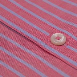 Germirli Pembe Mavi Çizgili Düğmeli Yaka Tailor Fit Vual Gömlek - Thumbnail