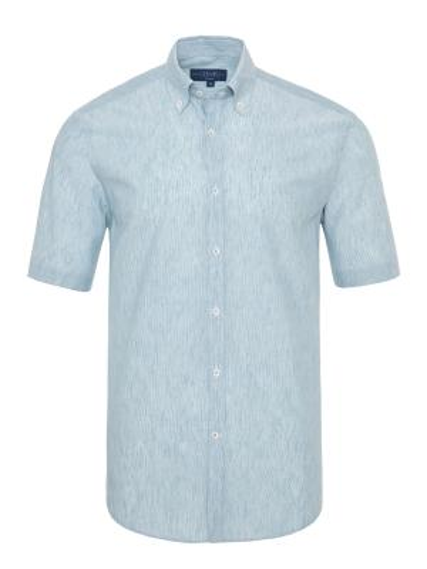 Germirli Petrol Mavisi Beyaz Çizgili Keten Pamuk Kısa Kollu Düğmeli Yaka Tailor Fit Gömlek