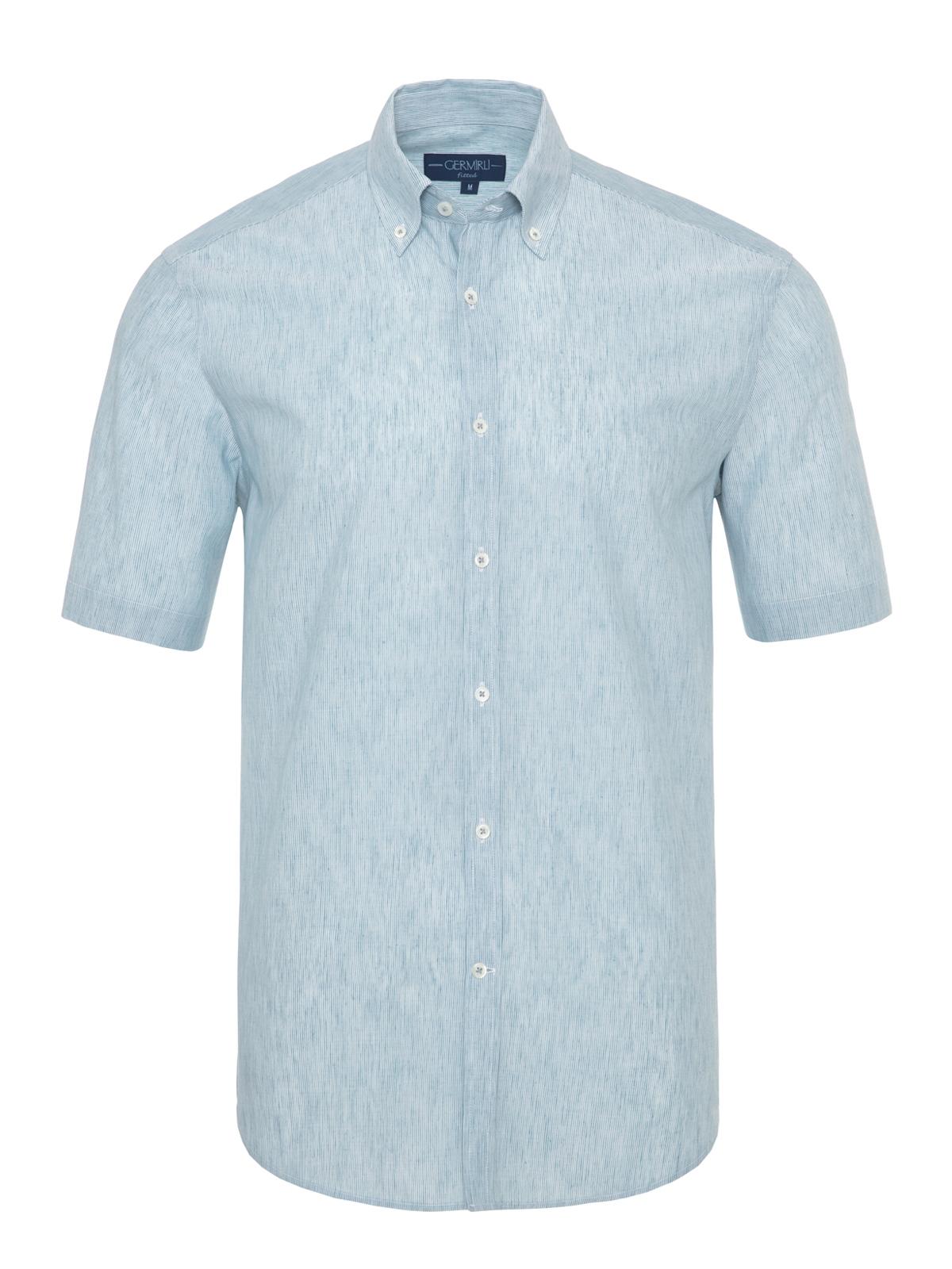 Germirli - Germirli Petrol Mavisi Beyaz Çizgili Keten Pamuk Kısa Kollu Düğmeli Yaka Tailor Fit Gömlek