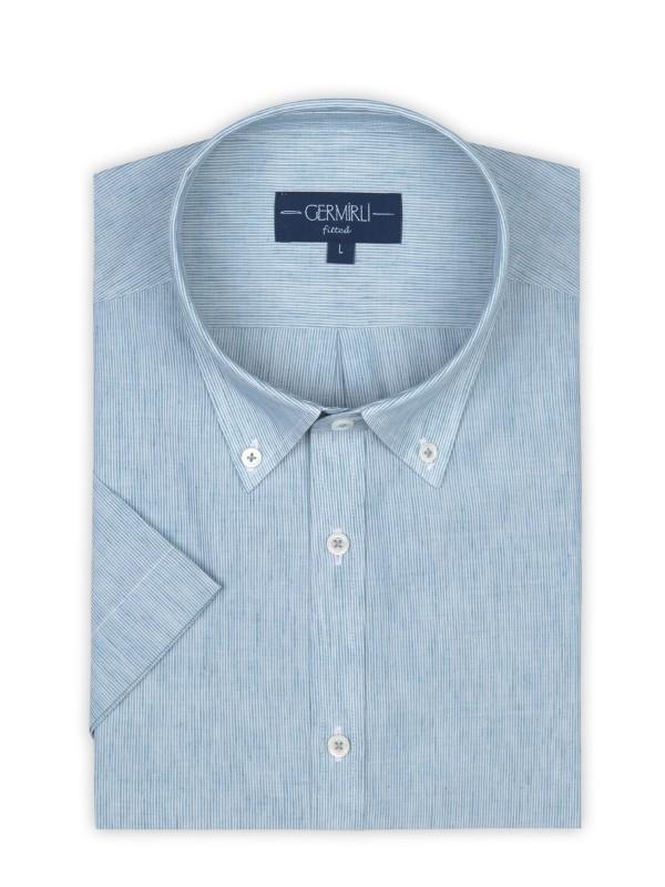 Germirli - Germirli Petrol Mavisi Beyaz Çizgili Keten Pamuk Kısa Kollu Düğmeli Yaka Tailor Fit Gömlek (1)