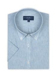 Germirli - Germirli Petrol Mavisi Beyaz Çizgili Keten Pamuk Kısa Kollu Düğmeli Yaka Cepli Tailor Fit Gömlek (1)