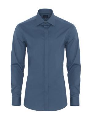 Germirli - Germirli Petrol Mavisi Gizli Pat Klasik Yaka Tailor Fit Gömlek